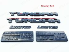 6PCS KIT GLOSS BLACK EMBLEMS OVERLAY KIT 2014-2020 TOYOTA TUNDRA LIMITED 5.7L V8