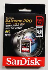 SanDisk Extreme PRO 128GB CLASS 10 95MB/S SDXC SDHC SD MEMORY CARD UHS-I 4K U3