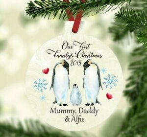 Personalised Our First Family Christmas bauble decoration tree Babys 1st xmas