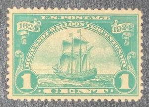 Travelstamps: US Stamps Scott #614, New Netherlands, 1¢ MINT OG LH