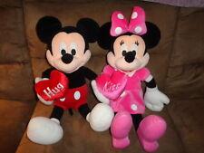 Minnie & Mickey Mouse Pair Red Hug Pink Kiss Heart stuffed plush Disney Dream