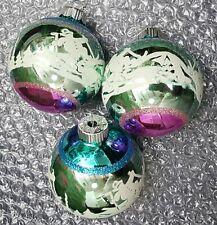 "Radko Shiny Brite Ornaments Christmas 2.5"" Vintage Style stencil Lot of 3 New"
