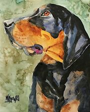 Black and Tan Coonhound Dog Art Print sifgned by Artist Ron Krajewski 8x10