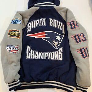 New England Patriots 2004 3x Super Bowl NFL Champs Varsity Insulated Jacket 2XL