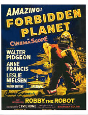 Leslie Nielsen Anne Francis Forbidden Planet Movie Autographed 8 x 11 Photo Card