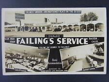 Baker California Failing's Service Cafe Bus Stop Real Photo Postcard RPPC 1940s