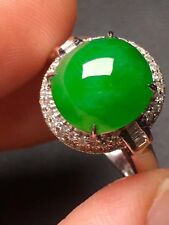18K solid WG Diamond Icy Imperial Green jadeite Jade Ring  - Top Quality