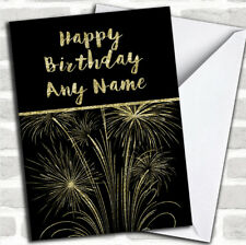 Gold Fireworks Customized Birthday Greetings Card