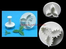 Xmas Holly Leaf Plunger Cutters Fondant Cookie Mold Sugarcraft Cake Decor Tools