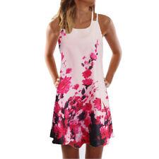 Summer Women Plus Size S-5XL Boho Sleeveless Loose Print Tank Short Beach Dress
