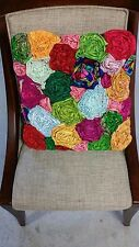 18x18 Handmade Designer Square Pillow Cover made w Pastel Multi-color Silk Ties
