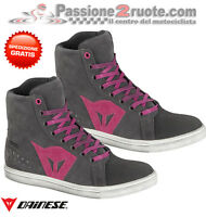 Scarpe donna Dainese Street Biker Lady wp antracite fucsia moto shoes
