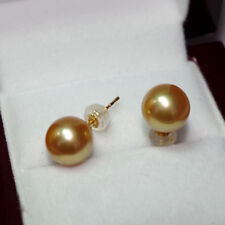 Top luster AAAAA 11-12mm real natural South Sea golden round pearl earrings 18k