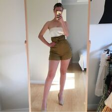 Tibi Brown Khaki Linen High Waisted Shorts XS 6 2