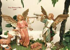 "Fontanini Depose Italy 5"" 2Pc Trumpeting Nativity Village Angels 51503 Nib"