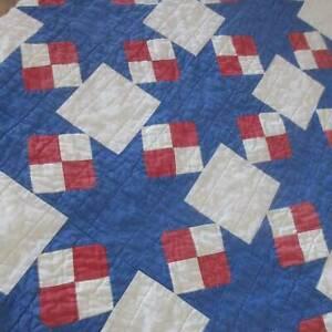 Wonderful Patriotic Americana! Vintage Red White Blue Stars QUILT PC 32x19