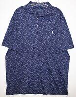 Polo Ralph Lauren Big and Tall Mens Blue Floral Soft Cotton Polo Shirt NWT XLT