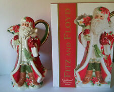 "Fitz and Floyd Cardinal Santa Christmas Pitcher 11.5"" Tall Gold Accents New Box"