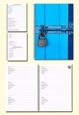 Internet Password Organiser A5 Book, Cover image blue door with padlock, Gift
