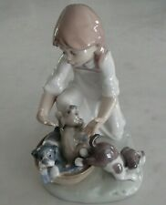 "Lladro 5595 ""Joy in a Basket"" girl with 3 puppy dogs in a basket - MWOB, RV$495"