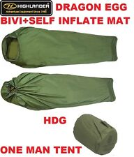 HIGHLANDER BREATHABLE DRAGON EGG BIVI BAG+SELF INFLATING SLEEPING MAT 1 MAN TENT