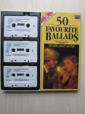 50 FAVOURITE BALLADS VARIOUS ARTISTS 3 X CASSETTE TAPE ALBUMS BOX SET, TESTED.