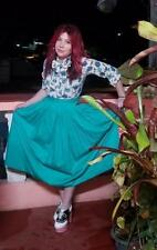 Vintage Retro 1970's  designer Carven-boutique Paris full  green cotton skirt