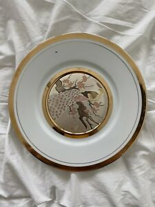 Collectable The Art of Chokin 24KT Gold Edged Peacock Plate