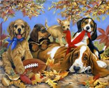 1000 Pieces Kids Adult Puzzle Cute Dogs Fallen Leaves Jigsaw Difficult Puzzle