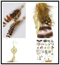 DISNEY COUTURE POCAHONTAS NATURAL FEATHERS/14KT GP FEATHER CHARMS EARRINGS**RARE