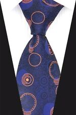 Blue Designer Hand Woven 100% Pure Silk Tie with Orange Circles By Kai Long