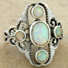 WHITE LAB OPAL ANTIQUE VICTORIAN DESIGN 925 STERLING SILVER RING SIZE 9,   #586