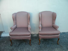 Pair of High-Back Queen Anne Legs Side by Side Chairs by Pembrook 2059