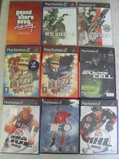 Bundle of 9 X PS2 Games Inc GTA, buzz, metal gear, SPLINTER CELL, NBA, NHL, pied
