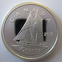 CANADA 2013 10 CENTS 99.99% PROOF SILVER DIME HEAVY CAMEO COIN