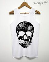 Black and White Floral Skull Vest Top Singlet Tank Sleeveless Hipster Urban Dope