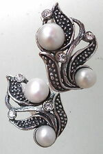 Silver plated Russian earrings in Shape of Flowers natural pearl and crystal