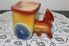 VINTAGE...POTTERY...RED, YELLOW, & BLUE...DONKEY PULLING A CART...PLANTER