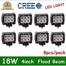 8x 4in 18W FLOOD CREE LED WORK LIGHT BAR OFFROAD Fog/Driving LAMP BOAT TRUCK OFF