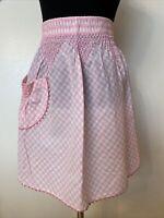 Handmade Apron Pink White Checker Gingham Teardrop Pocket Vintage Some Staining