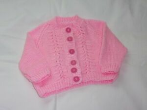 """Girls Hand Knit Pink Button Up Cardigan with Long Sleeves - 22""""/56cms - BNWOT"""