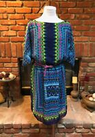 Vintage Bright Southwestern Women's sz Large Casual CHIC Belted Waist Dress