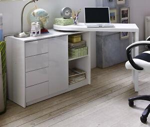 Schreibtisch weiß Hochglanz schwenkbar ausziehbar 106 - 166 cm mit Stauraum Matt