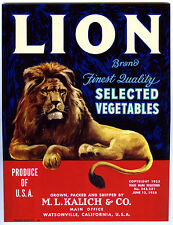 LION BRAND~ORIGINAL 1928 COPYRIGHT WATSONVILLE CALIFORNIA VEGETABLE CRATE LABEL