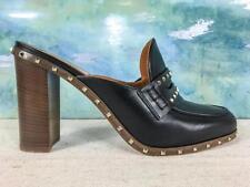 $895 VALENTINO Soul Black Leather Gold Rockstud Loafers Mules Slip On Heels SALE