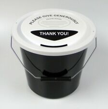 More details for 6 charity money collection buckets lids, labels & ties for fundraising-black