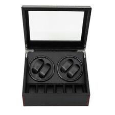 Case Box 4+6 Automatic Rotation Black Leather Watch Winder Storage Auto Display