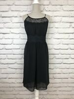 L.K. BENNETT Black High Neck Lace Detail Strap Silk Party Occasion Dress UK 14
