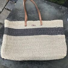 VINTAGE ESPRIT Large Sisal Jute Tote Market Bag with Leather Straps.  VGC!