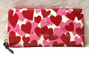 Kate Spade PWRU6079 Yours Truly Print Lacey Zip Wallet Heart Party Red Pink NWT